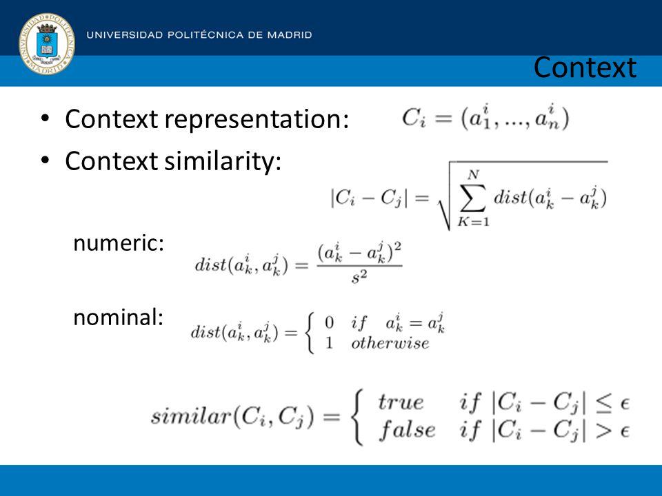 Context Context representation: Context similarity: numeric: nominal: