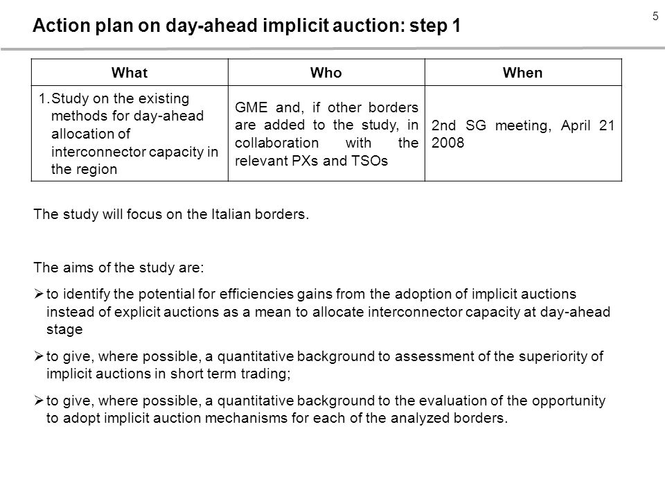 Action plan on day-ahead implicit auction: step 1 WhatWhoWhen 1.Study on the existing methods for day-ahead allocation of interconnector capacity in the region GME and, if other borders are added to the study, in collaboration with the relevant PXs and TSOs 2nd SG meeting, April The study will focus on the Italian borders.