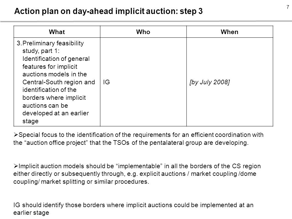 - 7 - 7 7 WhatWhoWhen 3.Preliminary feasibility study, part 1: Identification of general features for implicit auctions models in the Central-South region and identification of the borders where implicit auctions can be developed at an earlier stage IG[by July 2008]  Special focus to the identification of the requirements for an efficient coordination with the auction office project that the TSOs of the pentalateral group are developing.