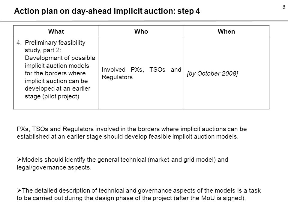WhatWhoWhen 4.Preliminary feasibility study, part 2: Development of possible implicit auction models for the borders where implicit auction can be developed at an earlier stage (pilot project) Involved PXs, TSOs and Regulators [by October 2008] PXs, TSOs and Regulators involved in the borders where implicit auctions can be established at an earlier stage should develop feasible implicit auction models.
