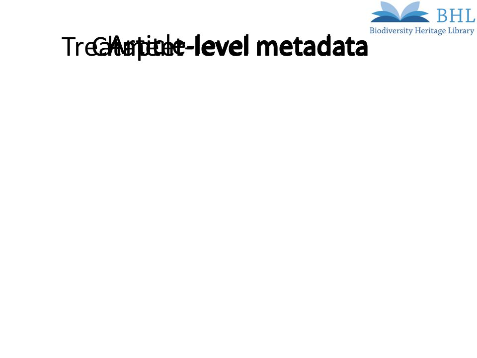 Article-level metadata Chapter-level metadataTreatment-level metadata