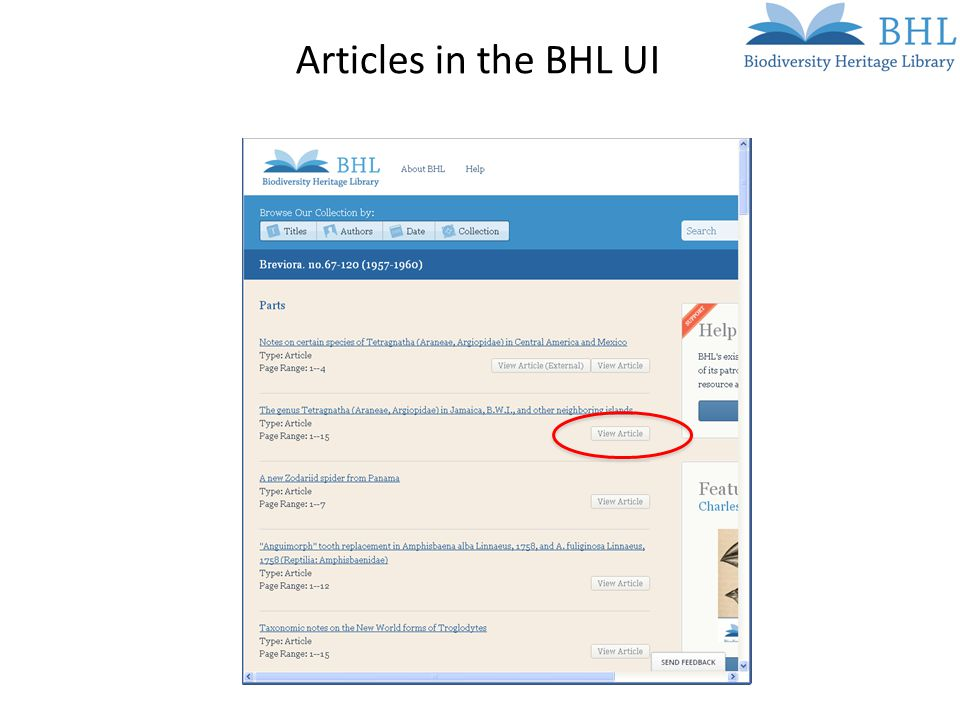 Articles in the BHL UI