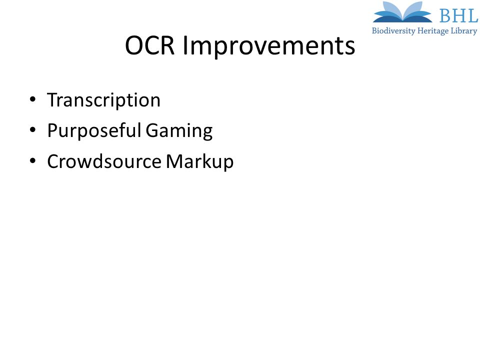 OCR Improvements Transcription Purposeful Gaming Crowdsource Markup