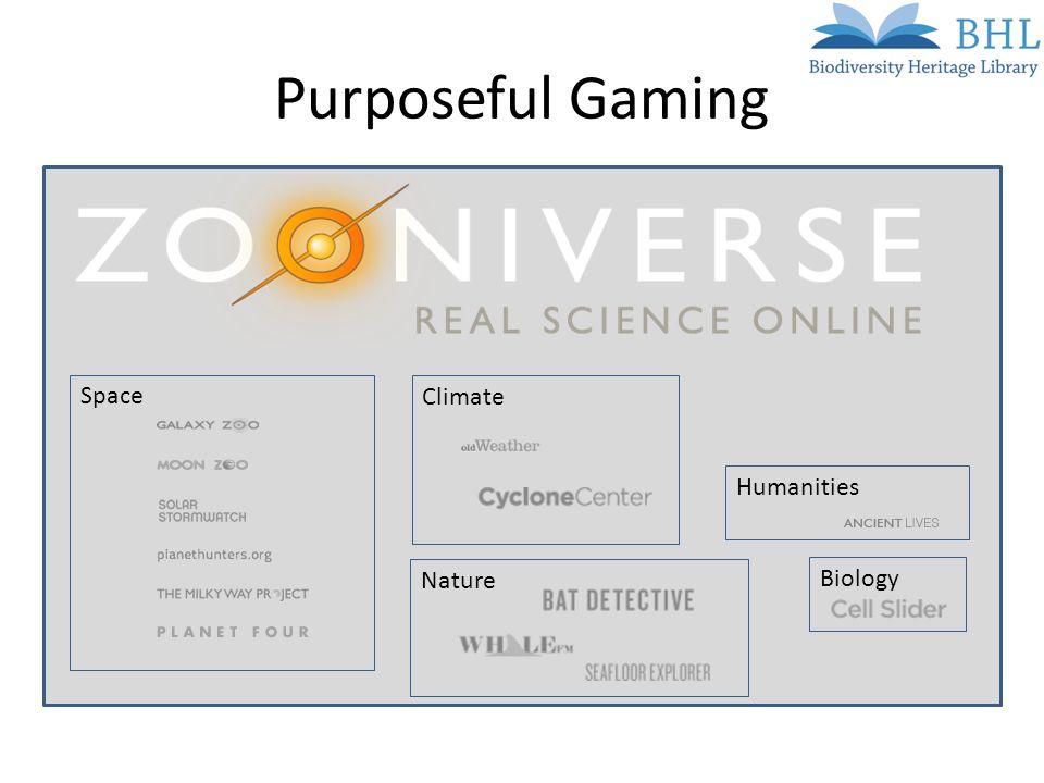 Purposeful Gaming SpaceClimateHumanitiesNatureBiology