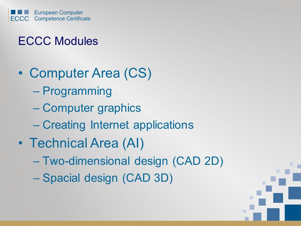 ECCC Modules Computer Area (CS) –Programming –Computer graphics –Creating Internet applications Technical Area (AI) –Two-dimensional design (CAD 2D) –Spacial design (CAD 3D)