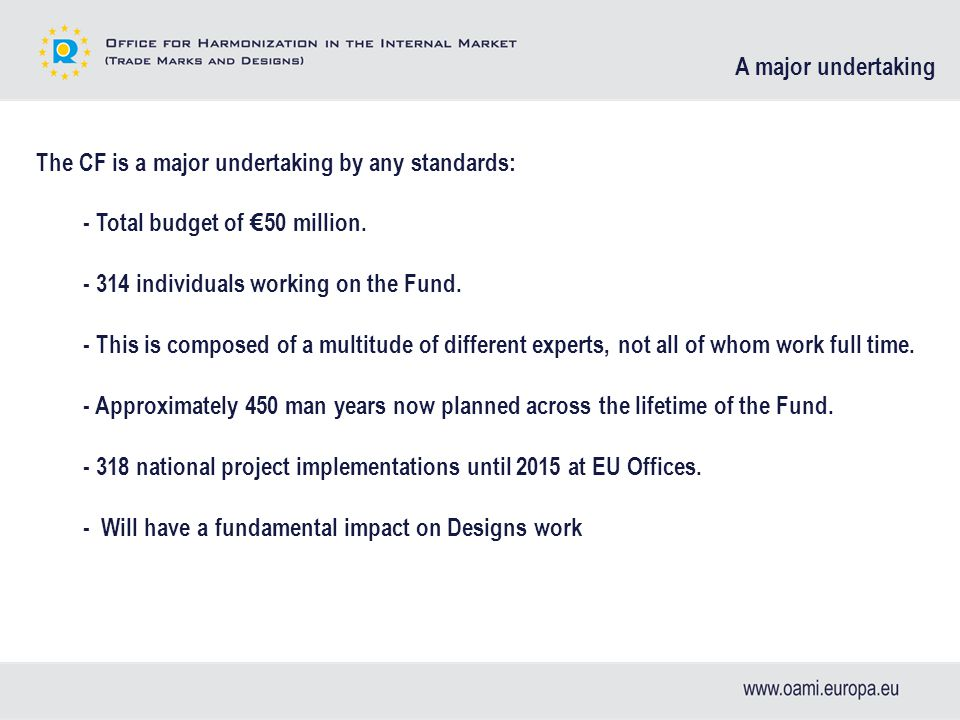 The CF is a major undertaking by any standards: - Total budget of € 50 million.