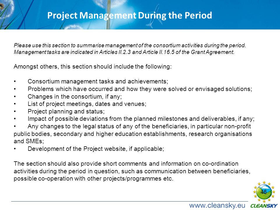 46 Project Management During the Period Please use this section to summarise management of the consortium activities during the period.