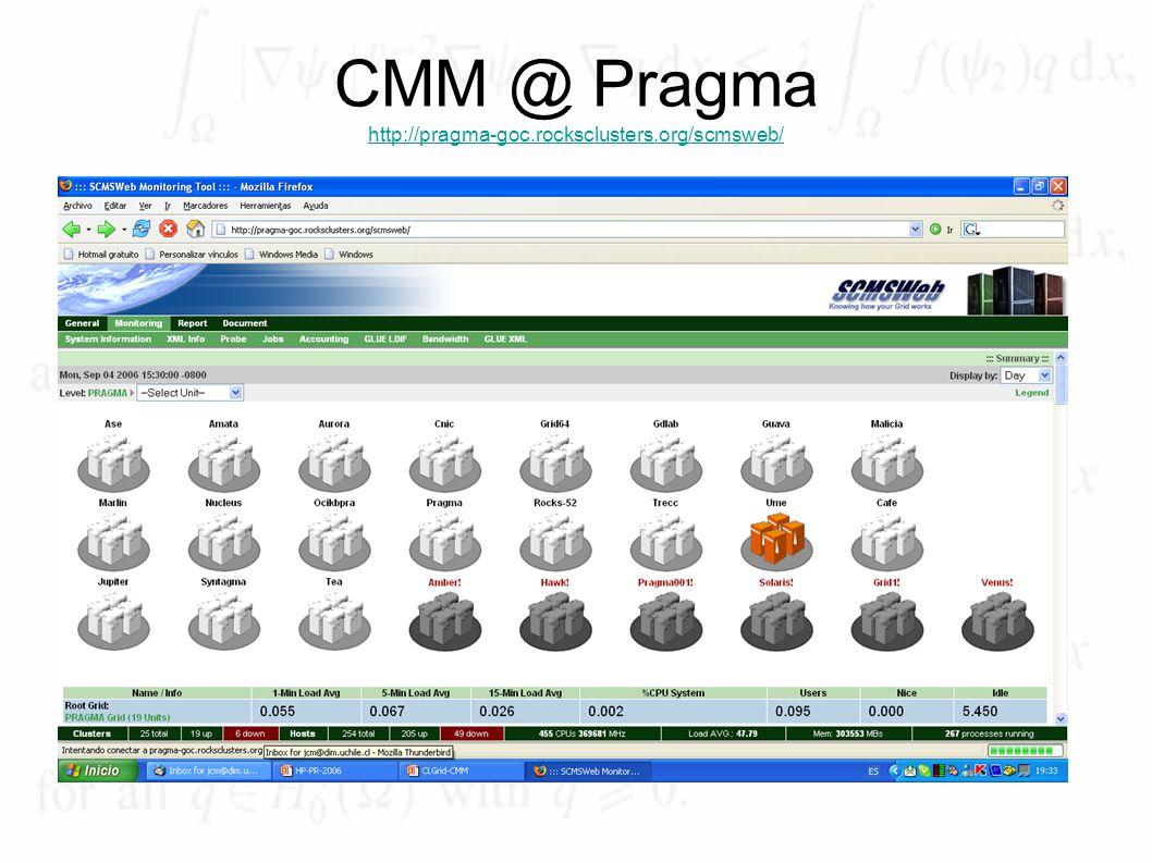CMM @ Pragma http://pragma-goc.rocksclusters.org/scmsweb/ http://pragma-goc.rocksclusters.org/scmsweb/