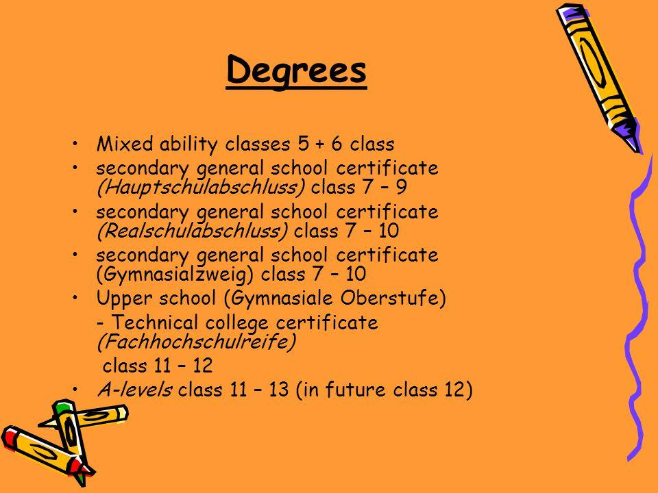 Degrees Mixed ability classes 5 + 6 class secondary general school certificate (Hauptschulabschluss) class 7 – 9 secondary general school certificate (Realschulabschluss) class 7 – 10 secondary general school certificate (Gymnasialzweig) class 7 – 10 Upper school (Gymnasiale Oberstufe) - Technical college certificate (Fachhochschulreife) class 11 – 12 A-levels class 11 – 13 (in future class 12)