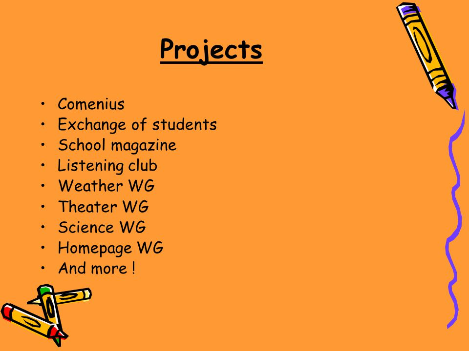 Projects Comenius Exchange of students School magazine Listening club Weather WG Theater WG Science WG Homepage WG And more !