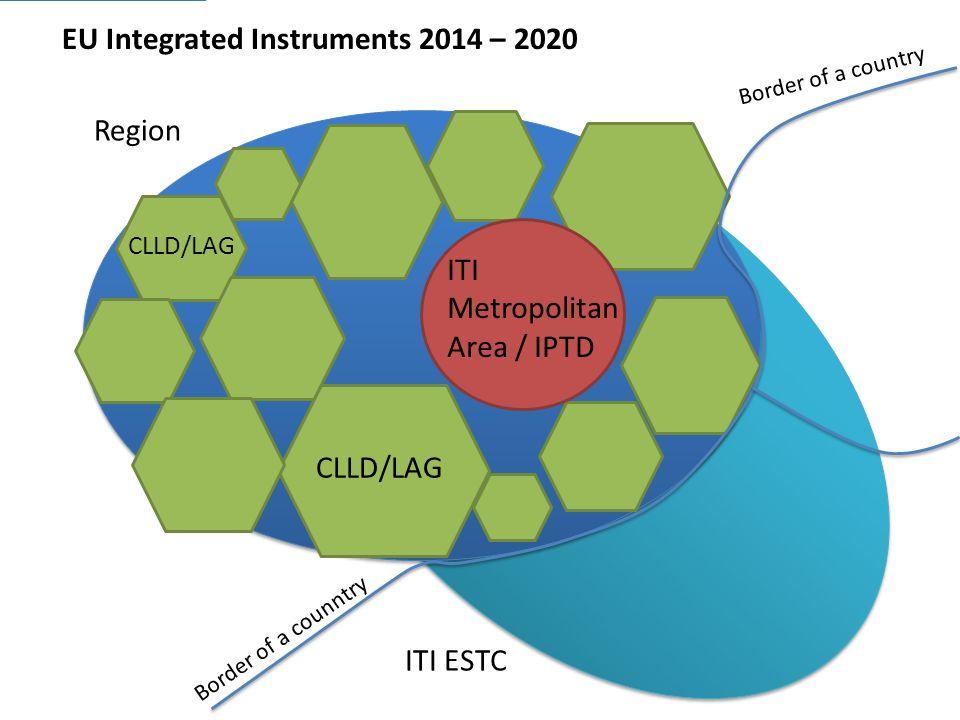 EU Integrated Instruments 2014 – 2020 Region ITI Metropolitan Area / IPTD CLLD/LAG ITI ESTC Border of a counntry Border of a country