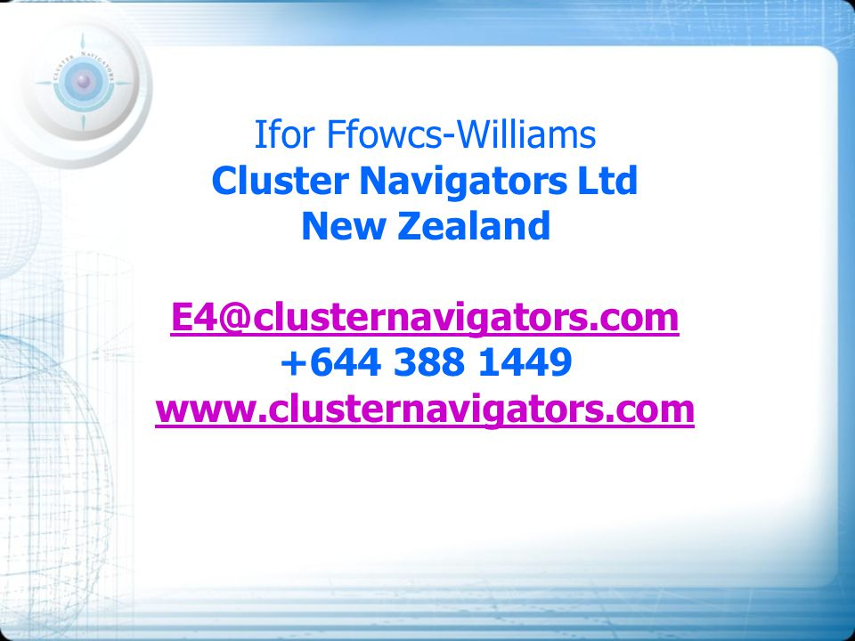 Ifor Ffowcs-Williams Cluster Navigators Ltd New Zealand