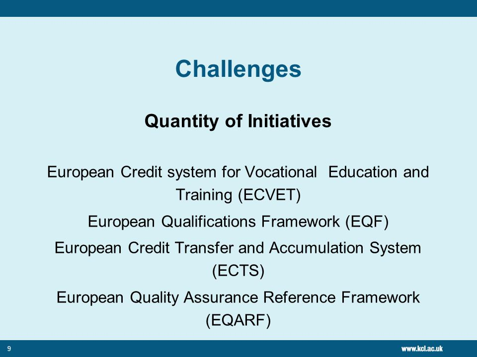10 Challenges Introduction and Application of Terminology Learning outcomes, Qualifications, Credits, (Units, Points) Memorandum of Understanding (Learning Agreements)