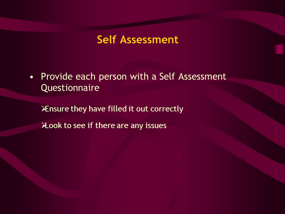 Self Assessment Provide each person with a Self Assessment Questionnaire  Ensure they have filled it out correctly  Look to see if there are any iss