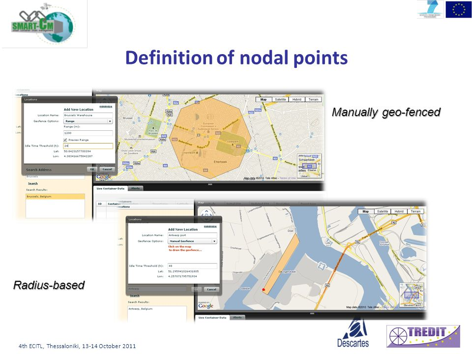4th ECITL, Thessaloniki, October 2011 Definition of nodal points Manually geo-fenced Radius-based