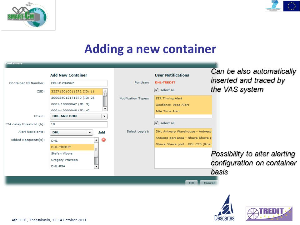 4th ECITL, Thessaloniki, October 2011 Adding a new container Can be also automatically inserted and traced by the VAS system Possibility to alter alerting configuration on container basis