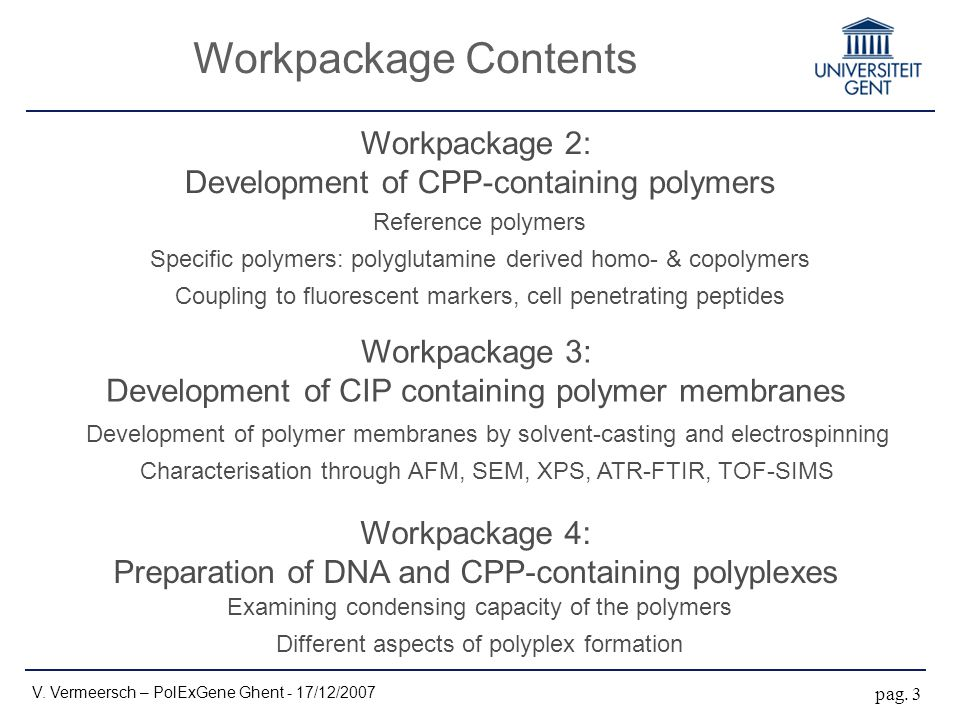 Workpackage Contents V. Vermeersch – PolExGene Ghent - 17/12/2007 pag. 3 Workpackage 2: Development of CPP-containing polymers Workpackage 4: Preparat