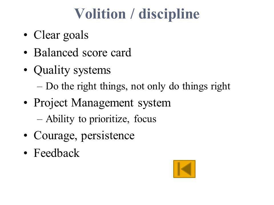 Volition / discipline Clear goals Balanced score card Quality systems –Do the right things, not only do things right Project Management system –Abilit
