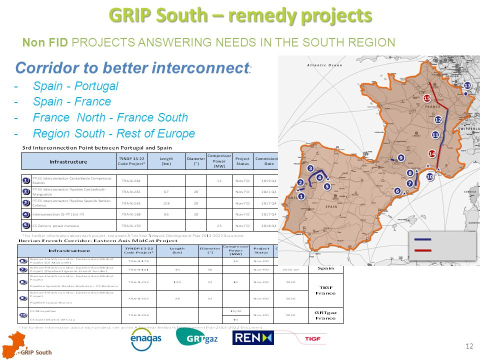GRIP South 12 GRIP South – remedy projects Non FID PROJECTS ANSWERING NEEDS IN THE SOUTH REGION Corridor to better interconnect : -Spain - Portugal -Spain - France -France North - France South -Region South - Rest of Europe