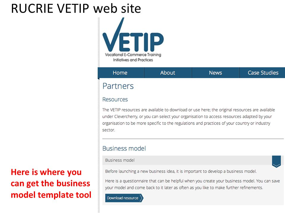 RUCRIE VETIP web site Here is where you can get the business model template tool