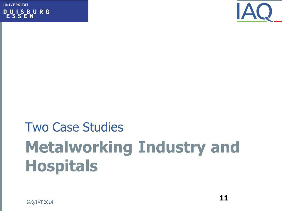 Metalworking Industry and Hospitals Two Case Studies IAQ/IAT 2014 11