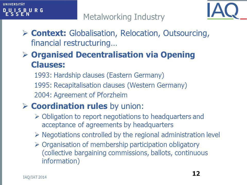 Metalworking Industry  Context: Globalisation, Relocation, Outsourcing, financial restructuring…  Organised Decentralisation via Opening Clauses: 19