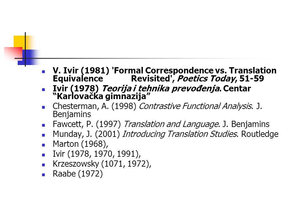 V. Ivir (1981) Formal Correspondence vs.