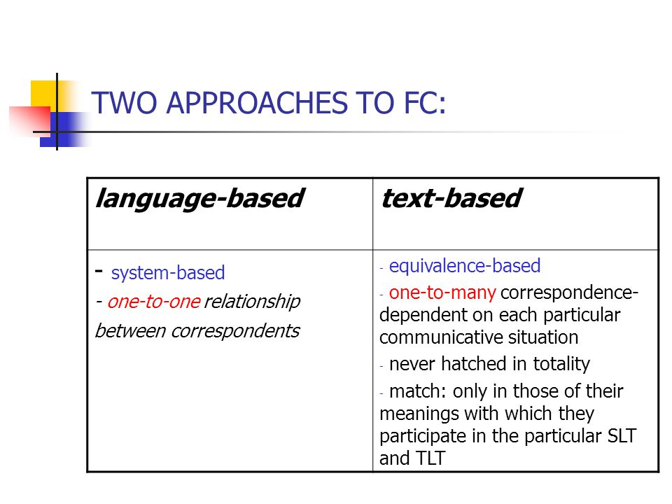 TWO APPROACHES TO FC: language-basedtext-based - system-based - one-to-one relationship between correspondents - equivalence-based - one-to-many correspondence- dependent on each particular communicative situation - never hatched in totality - match: only in those of their meanings with which they participate in the particular SLT and TLT