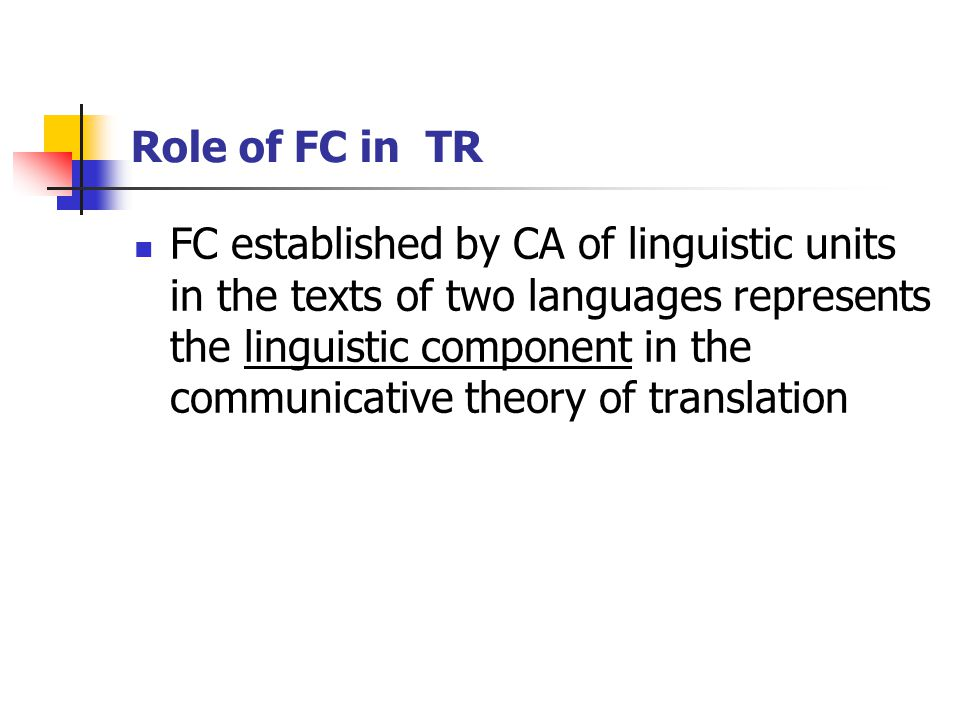 Role of FC in TR FC established by CA of linguistic units in the texts of two languages represents the linguistic component in the communicative theory of translation