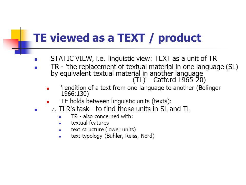 TR viewed as a process DYNAMIC VIEW, i.e.