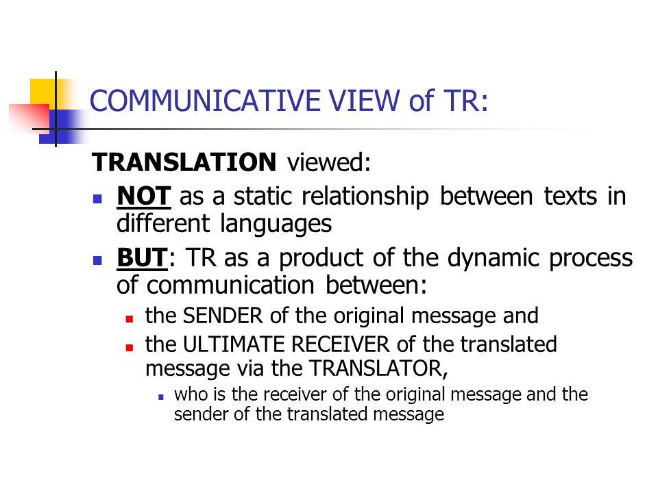 FORMAL CORRESPONDENCE AND TRANSLATION .