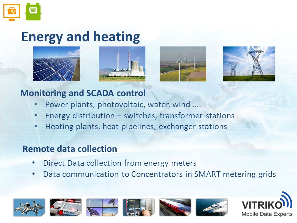 Power plants, photovoltaic, water, wind....