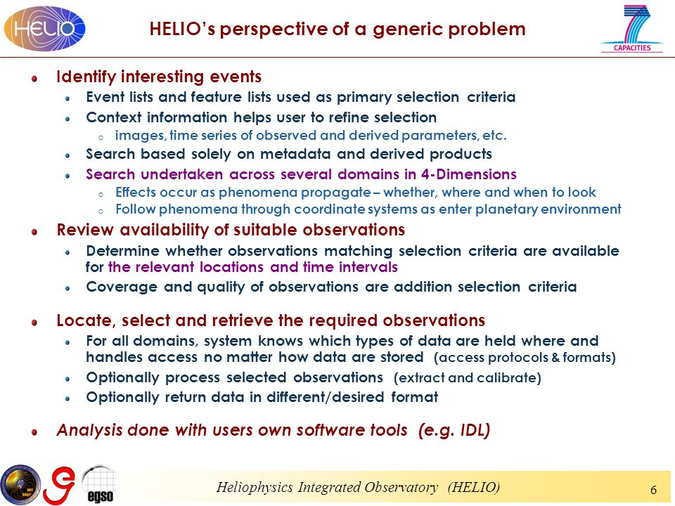 Heliophysics Integrated Observatory (HELIO) 6 HELIO's perspective of a generic problem Identify interesting events Event lists and feature lists used as primary selection criteria Context information helps user to refine selection o images, time series of observed and derived parameters, etc.