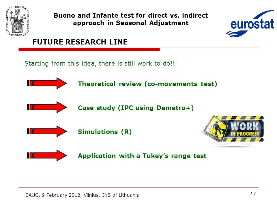 17 FUTURE RESEARCH LINE Starting from this idea, there is still work to do!!! Case study (IPC using Demetra+) Simulations (R) Application with a Tukey