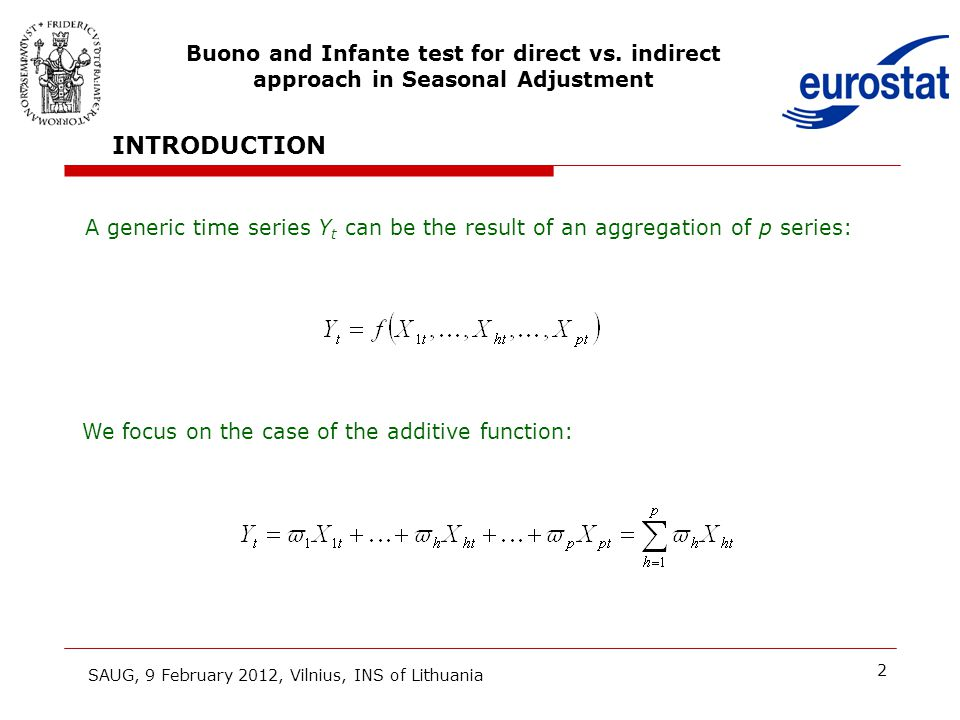 2 INTRODUCTION A generic time series Y t can be the result of an aggregation of p series: SAUG, 9 February 2012, Vilnius, INS of Lithuania Buono and I