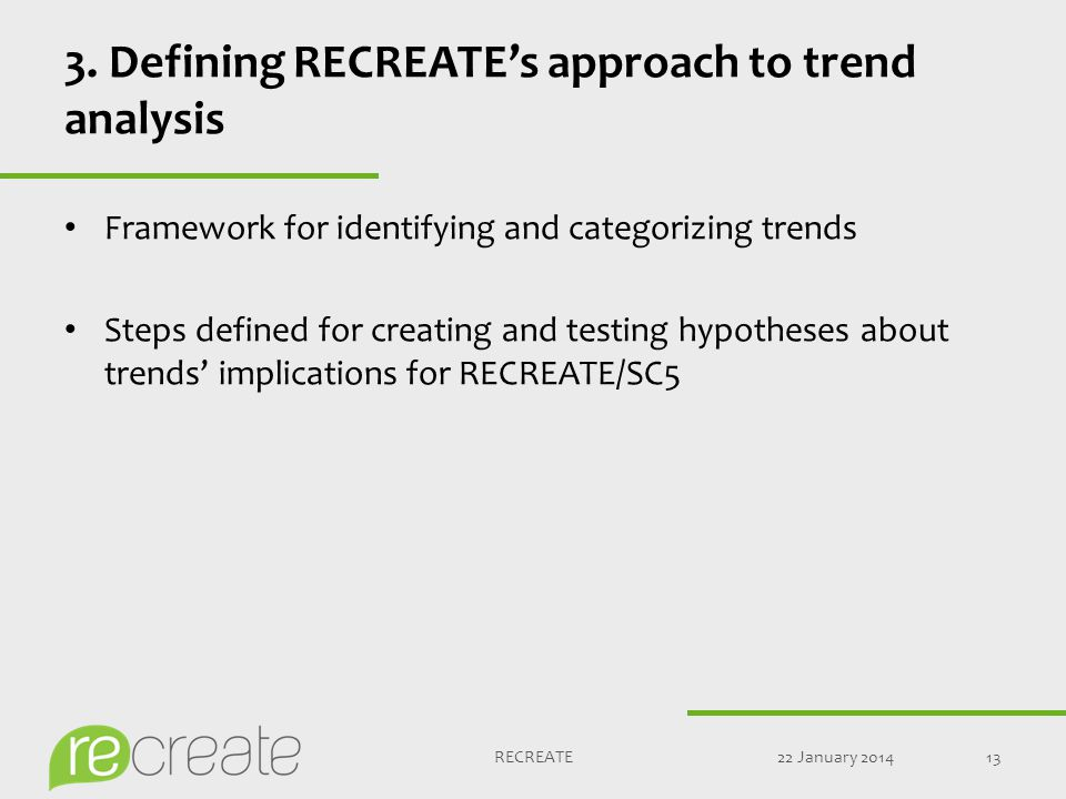 3. Defining RECREATE's approach to trend analysis Framework for identifying and categorizing trends Steps defined for creating and testing hypotheses