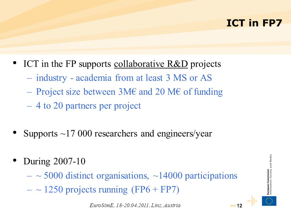 12 ICT in the FP supports collaborative R&D projects –industry - academia from at least 3 MS or AS –Project size between 3M€ and 20 M€ of funding –4 t
