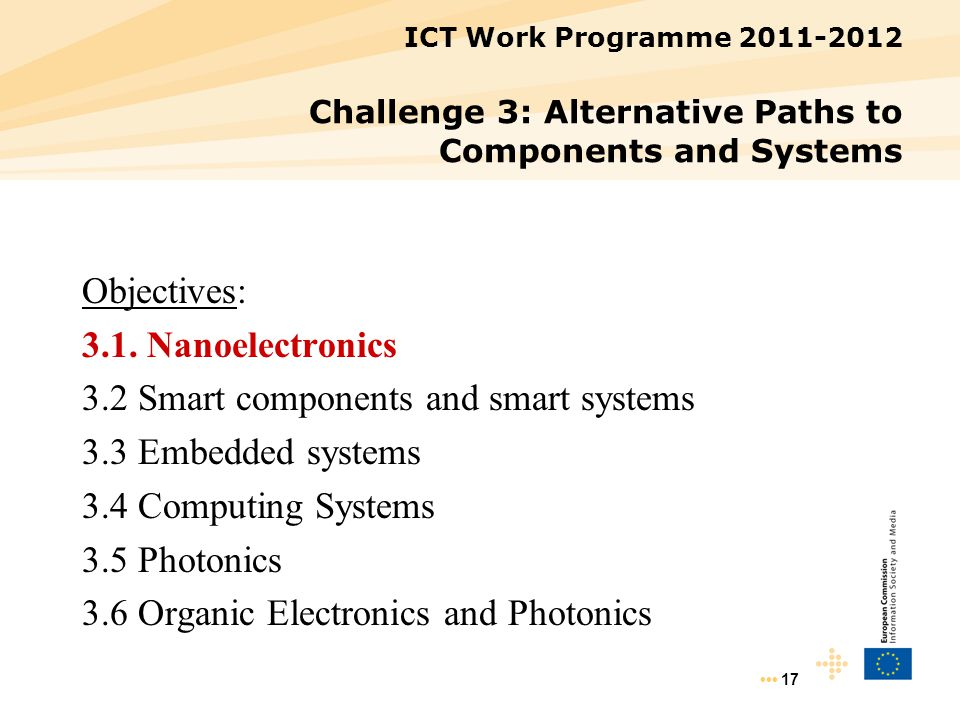17 ICT Work Programme 2011-2012 Challenge 3: Alternative Paths to Components and Systems Objectives: 3.1. Nanoelectronics 3.2 Smart components and sma