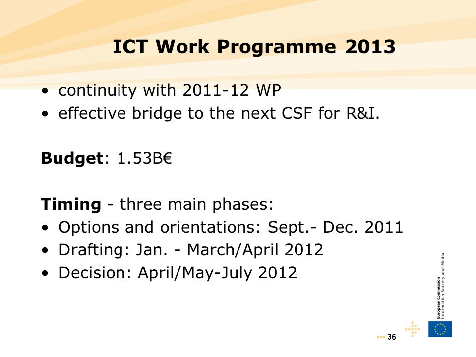 36 ICT Work Programme 2013 continuity with 2011-12 WP effective bridge to the next CSF for R&I. Budget: 1.53B € Timing - three main phases: Options an