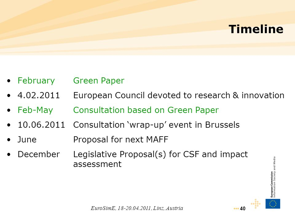 40 Timeline FebruaryGreen Paper 4.02.2011European Council devoted to research & innovation Feb-MayConsultation based on Green Paper 10.06.2011Consulta