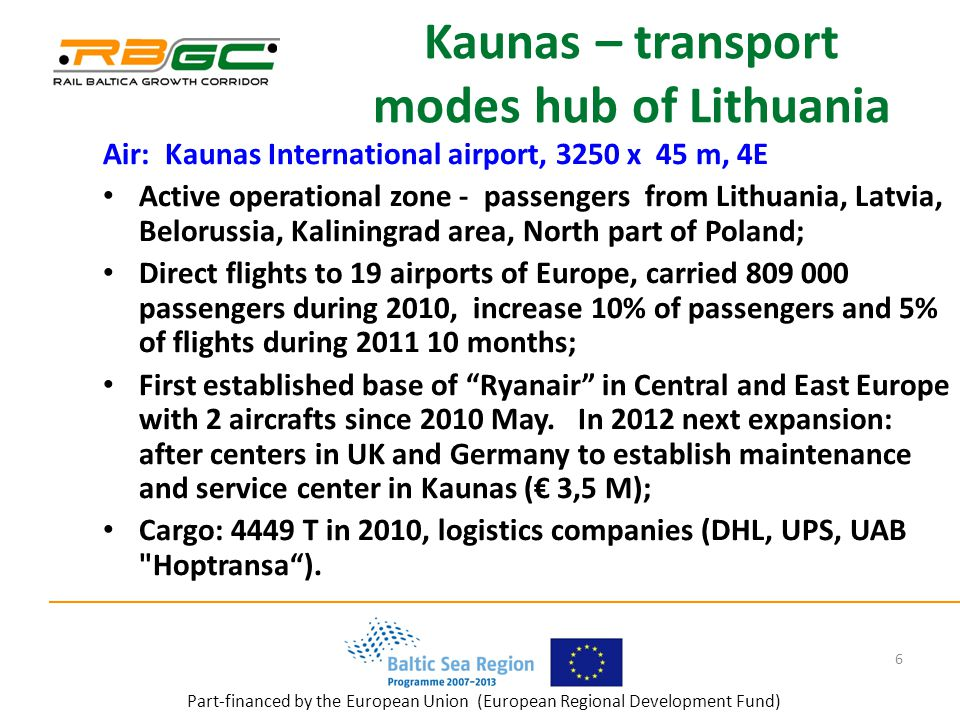 Part-financed by the European Union (European Regional Development Fund) Kaunas – transport modes hub of Lithuania Air: Kaunas International airport, 3250 x 45 m, 4E Active operational zone - passengers from Lithuania, Latvia, Belorussia, Kaliningrad area, North part of Poland; Direct flights to 19 airports of Europe, carried passengers during 2010, increase 10% of passengers and 5% of flights during months; First established base of Ryanair in Central and East Europe with 2 aircrafts since 2010 May.