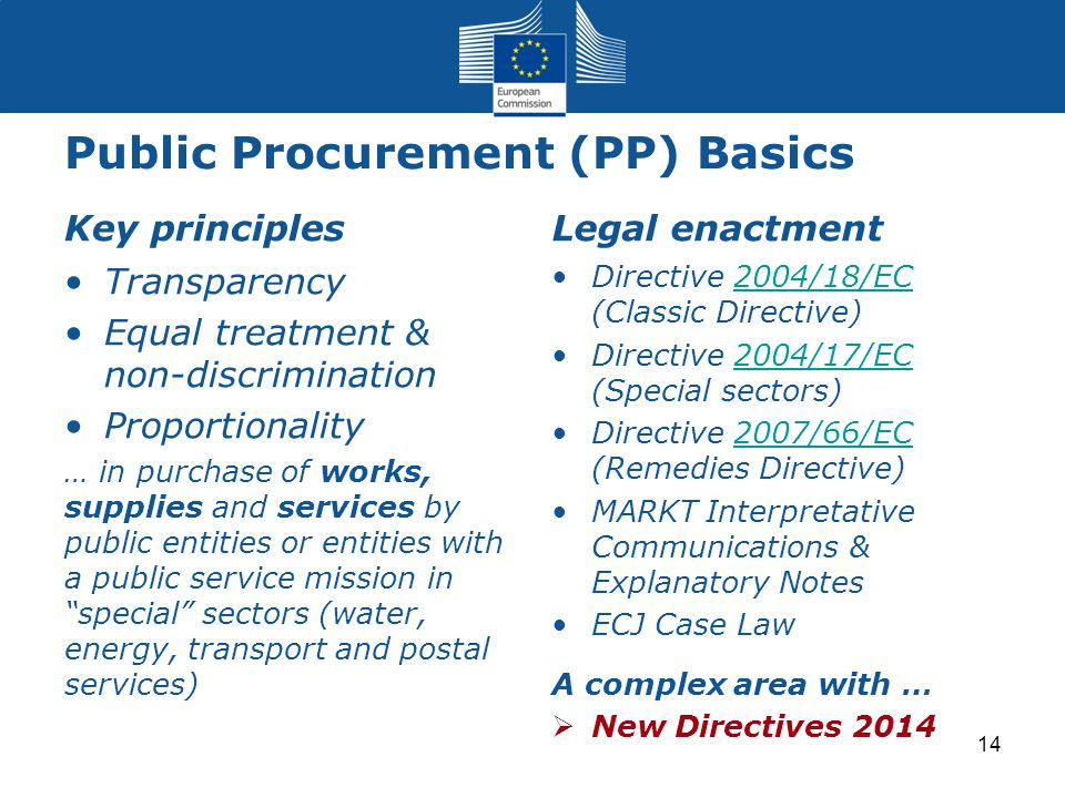 Public Procurement (PP) Basics Key principles Transparency Equal treatment & non-discrimination Proportionality … in purchase of works, supplies and s