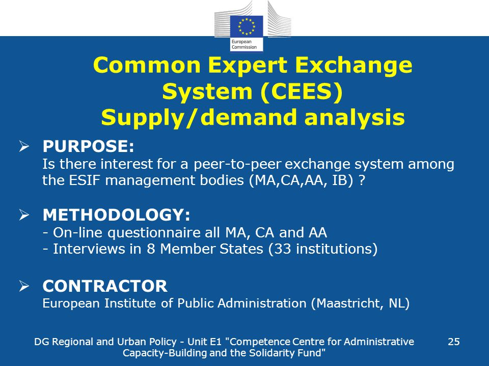 DG Regional and Urban Policy - Unit E1 Competence Centre for Administrative Capacity-Building and the Solidarity Fund 25  PURPOSE: Is there interest for a peer-to-peer exchange system among the ESIF management bodies (MA,CA,AA, IB) .