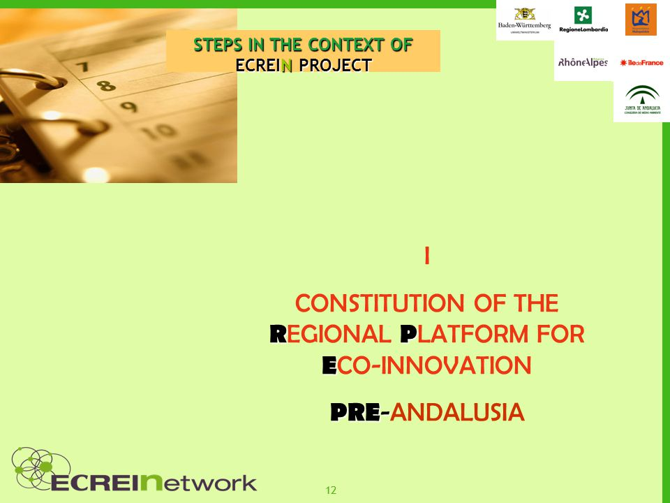 12 STEPS IN THE CONTEXT OF ECREIN PROJECT I RP E CONSTITUTION OF THE R EGIONAL P LATFORM FOR E CO-INNOVATION PRE - PRE -ANDALUSIA