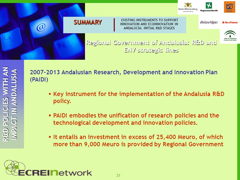 21 SUMMARY EXISTING INSTRUMENTS TO SUPPORT INNOVATION AND ECOINNOVATION IN ANDALUCÍA: INITIAL R&D STAGES R&D POLICIES WITH AN IMPACT IN ANDALUSIA 2007