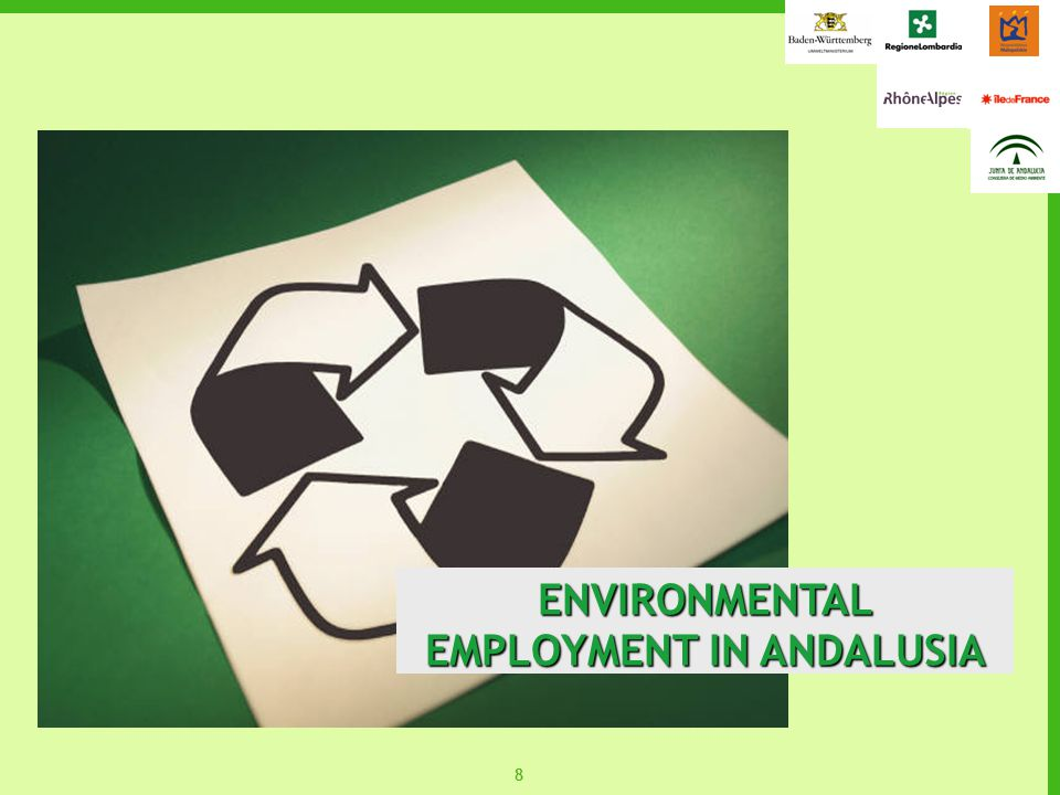 99 ENVIRONMENTAL EMPLOYMENT represents 3.1% of the employed population Environmental employment in Andalusia represents 3.1% of the employed population in 2004 (87,099 jobs) Favourable tendency to the growth of environmental employment in Andalusia.