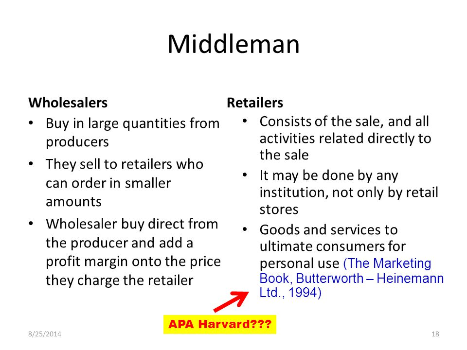 Middleman Buy in large quantities from producers They sell to retailers who can order in smaller amounts Wholesaler buy direct from the producer and add a profit margin onto the price they charge the retailer Consists of the sale, and all activities related directly to the sale It may be done by any institution, not only by retail stores Goods and services to ultimate consumers for personal use (The Marketing Book, Butterworth – Heinemann Ltd., 1994) WholesalersRetailers 8/25/ APA Harvard