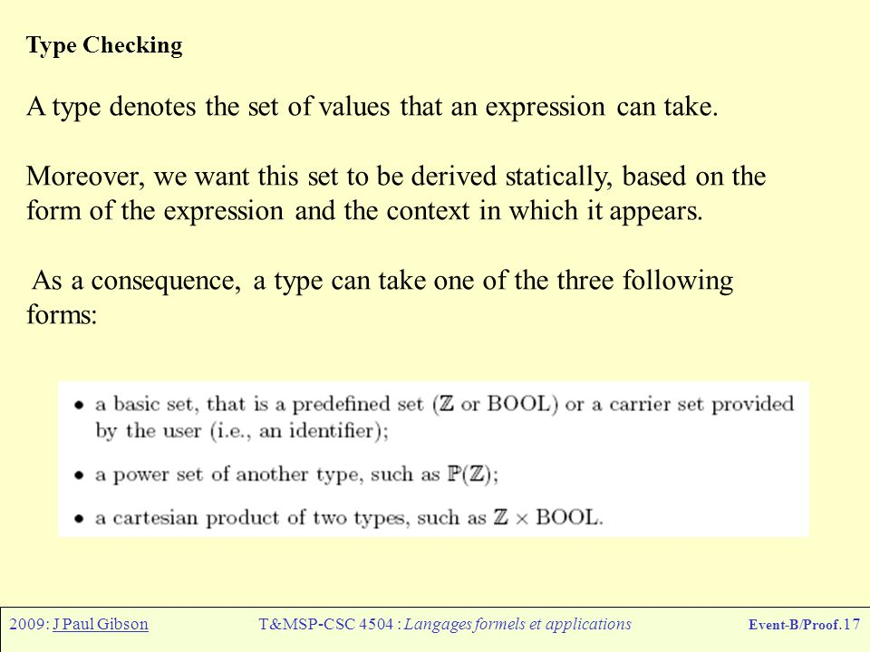 2009: J Paul GibsonT&MSP-CSC 4504 : Langages formels et applications Event-B/Proof.17 Type Checking A type denotes the set of values that an expressio