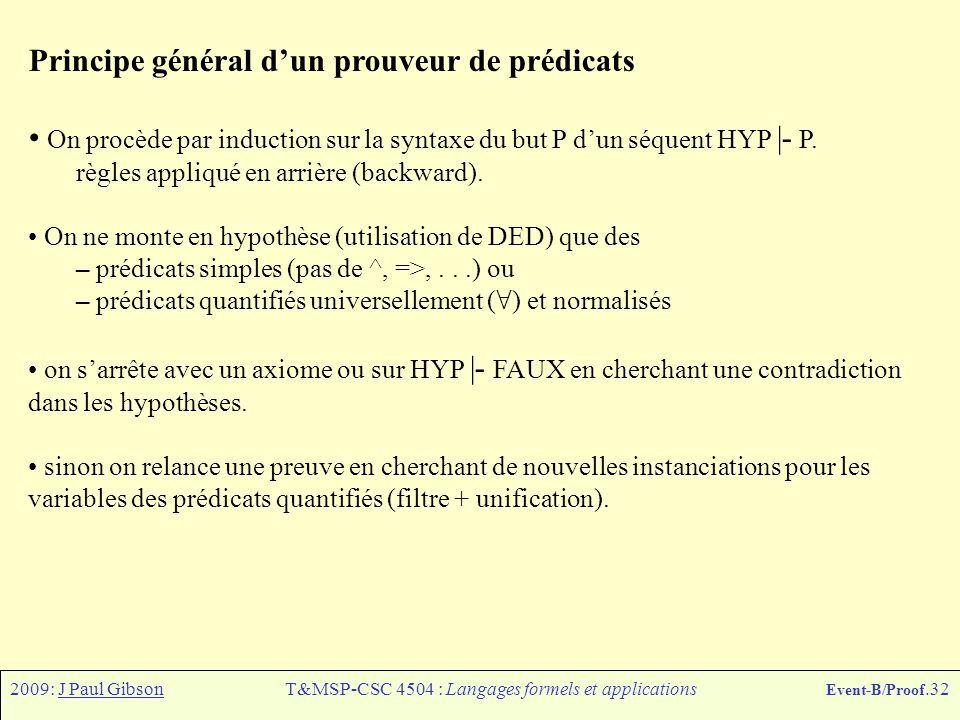 2009: J Paul GibsonT&MSP-CSC 4504 : Langages formels et applications Event-B/Proof.32 Principe général d'un prouveur de prédicats On procède par induc