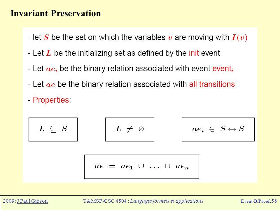 2009: J Paul GibsonT&MSP-CSC 4504 : Langages formels et applications Event-B/Proof.58 Invariant Preservation
